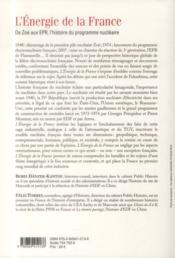 L'énergie de la France ; de Zoé aux EPR, l'histoire du programme nucléaire - 4ème de couverture - Format classique