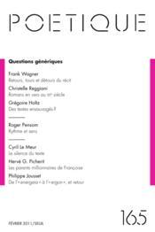 Revue Poetique N.165 - Couverture - Format classique