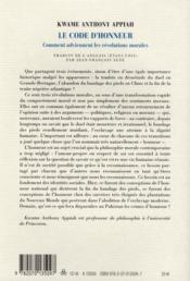 Le code de l'honneur ; comment surviennent les révolutions morales - 4ème de couverture - Format classique