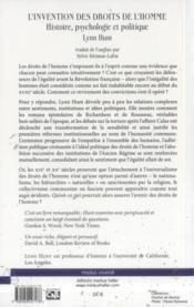 Invention Des Droits De L Homme - 4ème de couverture - Format classique