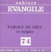 Parole De Dieu Et Exegese (Coll.), No 74 - Couverture - Format classique