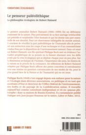 Le penseur paléolithique ; la philosophie écologiste de Robert Hainard - 4ème de couverture - Format classique