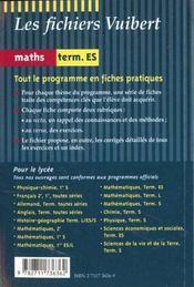 Mathematiques Terminale Es - 4ème de couverture - Format classique