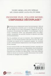 Produire plus, polluer moins : l'impossible découplage ? - 4ème de couverture - Format classique