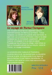 Le voyage de tortue Carapace - 4ème de couverture - Format classique