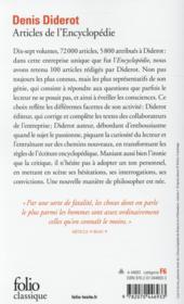 Articles de l'Encyclopédie - 4ème de couverture - Format classique