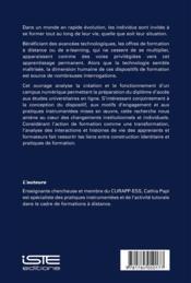 Formation à distance ; dispositifs et interactions - 4ème de couverture - Format classique