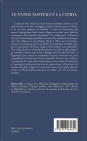 Pater noster et la fatiha ; deux textes une même prière - 4ème de couverture - Format classique