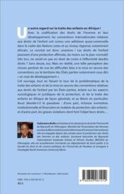 La traite des enfants en Afrique ; l'application des conventions internationales relatives aux droits de l'enfant en République du Bénin - 4ème de couverture - Format classique
