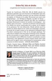 Entre foi lois et droits ; l'expérience de l'excision en textes et en contextes - 4ème de couverture - Format classique