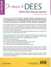 Je réussis le DEES ; diplôme d'Etat d'éducateur spécialisé ; socle commun + option. conforme à la réforme - 4ème de couverture - Format classique