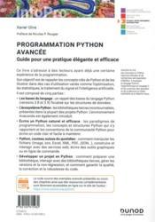 Programmation python avancée : guide pour une pratique élégante et efficace - 4ème de couverture - Format classique