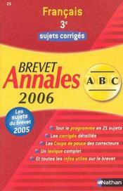 Abc Du Bac T.25 ; Annales ; Sujets Corriges ; Bac 2006 - Intérieur - Format classique