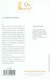 Le service public 6e ed qsj 2359 (6e édition) - 4ème de couverture - Format classique