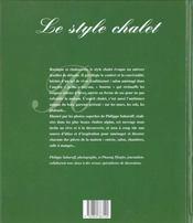 Le style chalet - 4ème de couverture - Format classique