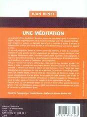 Une méditation - 4ème de couverture - Format classique