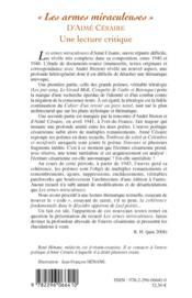 Les armes miraculeuses d'Aima Césaire ; une lecture critique - 4ème de couverture - Format classique