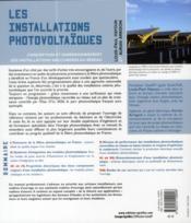 Les installations photovoltaïques ; conception et dimensionnement des installations raccordées au réseau - 4ème de couverture - Format classique