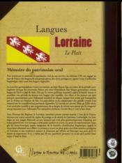 Langues de Lorraine t.2 ; le Platt - 4ème de couverture - Format classique