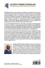 Le droit minier congolais ; à l'épreuve des droits foncier et forestier - 4ème de couverture - Format classique
