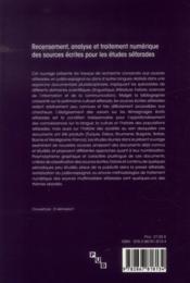 Recensement analyse et traitement numerique des sources ecrites pour les etudes - 4ème de couverture - Format classique