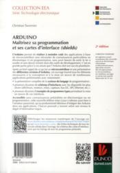 Arduino ; maîtrisez sa programmation et ses cartes d'interface (shields) (2e édition) - 4ème de couverture - Format classique