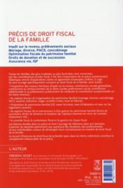 Précis de droit fiscal de la famille (édition 2015) - 4ème de couverture - Format classique