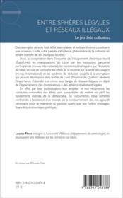 Entre sphères légales et réseaux illégaux ; le jeu de la collusion - 4ème de couverture - Format classique