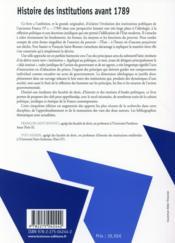 Histoire des institutions avant 1789 (5e édition) - 4ème de couverture - Format classique