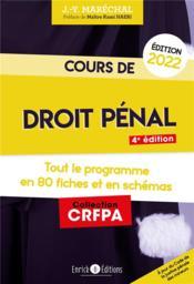 Cours de droit pénal 2022 ; tout le programme en 80 fiches - Couverture - Format classique