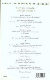 CAHIERS INTERNATIONAUX DE SOCIOLOGIE N.108 ; sociologies inactuelles, sociologies actuelles ? - 4ème de couverture - Format classique
