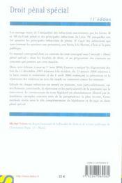 Droit Penal Special (11e Edition - 4ème de couverture - Format classique