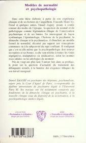 Modeles De Normalite Et Psychopathologie - 4ème de couverture - Format classique
