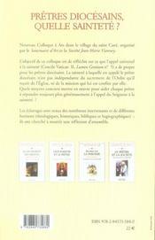 Prêtres diocésains, quelle sainteté ? colloque à ars, 26-28 février 2007 - 4ème de couverture - Format classique