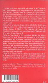 Laicite, cent ans apres - 4ème de couverture - Format classique