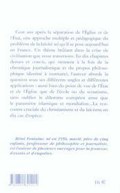 La Laicite Dans Tous Ses Debats ; Christianisme Et Laicisme En Dix Cas D'Ecole - 4ème de couverture - Format classique