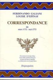 Correspondance Tome Iii (Mars 1772-Mai 1773) - Couverture - Format classique