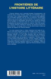 Frontières de l'histoire littéraire - 4ème de couverture - Format classique