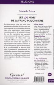 Les 100 mots de la franc-maçonnerie (2e édition) - 4ème de couverture - Format classique