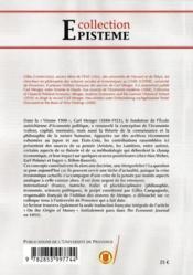 Existe-t-il une doctrine Menger ? aux origines de la pensée économique autrichienne - 4ème de couverture - Format classique