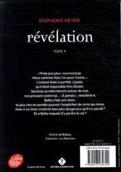 Twilight t.4 ; révélation - 4ème de couverture - Format classique