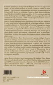La cité et l'empereur - 4ème de couverture - Format classique