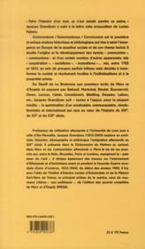 Communisme/kommunismus/communism ; origine et développement interrnational de la terminologie communautaire prémarxiste des utopistes aux néo-babouvistes, 1785-1842 - 4ème de couverture - Format classique