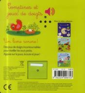 Comptines et jeux de doigts - 4ème de couverture - Format classique