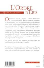 L'ordre d'Eris - 4ème de couverture - Format classique