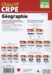 OBJECTIF CRPE ; géographie (édition 2015) - 4ème de couverture - Format classique
