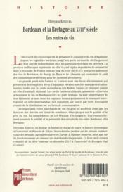 Bordeaux et la Bretagne au XVIIIe siècle ; les routes du vin - 4ème de couverture - Format classique