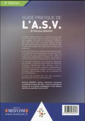 Guide pratique de l asv. 3eme edition - 4ème de couverture - Format classique