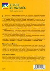 Etudes de marches methodes et outils - 4ème de couverture - Format classique