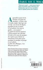 Jouer De La Musique À Paris. Écoles, Cours, Stages, Associations, Orchestres... - 4ème de couverture - Format classique